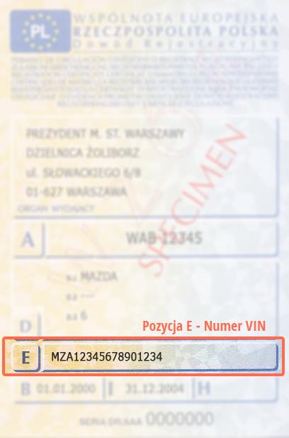Dowód Rejestracyjny Pojazdu - numer VIN